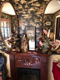 Gel Fueled FirePlace  ,Mirror,Asian Statues ,Art
