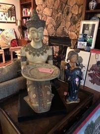 Asian Prayer Bowl & Asian Statues ,Art etc...