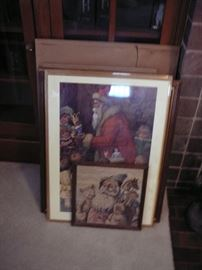 group of vintage framed prints
