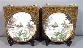 Pair of Hand Painted Chinese Harbor Scene Decorative Plates,with Stands and Boxes, See Photos