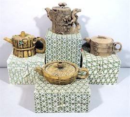 Chinese Carved Stone Tea Pots, Qty 4, with Boxes