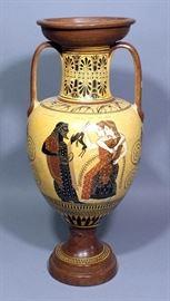 "Ancient Greek Vase Museum Copy ""Athena, Poseidon, and Dionysus"" 20.5""H"