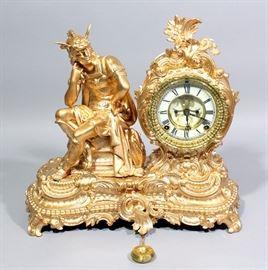 "Ansonia Clock Company Gilded Mercury Mantle Clock, 16""W x 14.5""H"