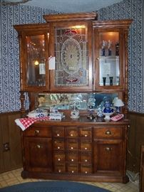 "Lighted ""apothecary"" hutch, two pieces, so very easy to move."