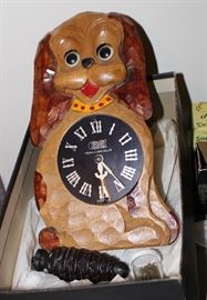 Antique Tezuka Hand Carved Dog Wall Clock with moving eyes