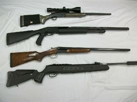 4 of the 9 long guns, all in good to excellent condition