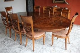 Quality Incredible Parquet Dining Table with 8 Chairs