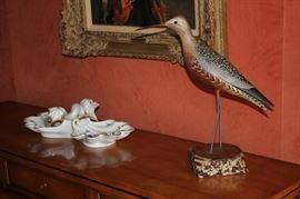 Decorative Items including Bird Figurine