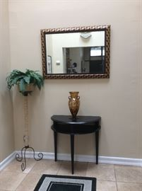 Hallway table and mirror, black table, multi colored mirror