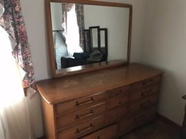 Great mid century dresser and matching mirror!