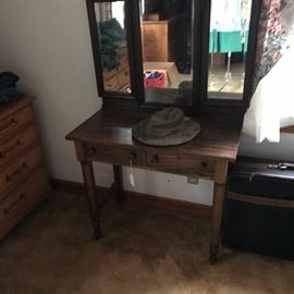Great antique triple mirrored dressing table.