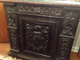 Front of Antique Ornate Carved Chest