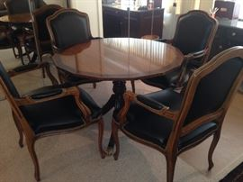 Heritage Heirloom Regency Style Mahogany & Satinwood Inlaid Tilt Top Table w/ 4 Arm Chairs