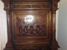 Front of Antique Carved Dry Bar w/ Cherubs