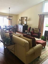 Living room sofa, ottomans & pair of leather arm chairs