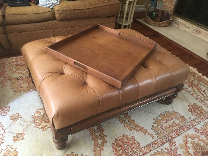 Leather ottoman with drawer for included wooden tray