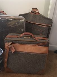vintage Hartmann tweed and leather luggage