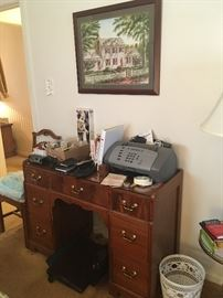 vintage desk, fax machine, office supplies, framed print