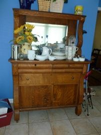 Nice Antique Sideboard w/Mirrored Back
