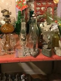 Glassware and old irons