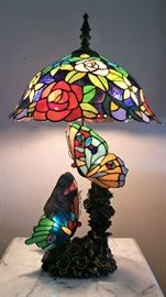 Large tiffany style stained glass lamp with butterfiles