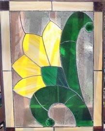 Pair of stained glass windown inserts