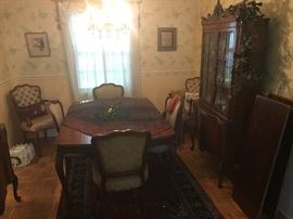 Burlwood Dining Table with 6 chairs and 2 leaves
