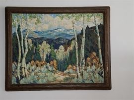 "Fremont F. Ellis. ""Early Spring Aspens"". Original oil painting. Santa Fe New Mexico  28"" x 36""."