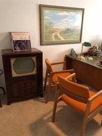 Vintage RCA TV, Orange Mid Century Chairs, Desk & Office Supplies