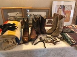 Boots, Spurs, blankets, art and more!