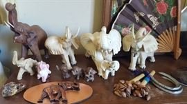 lots of elephants in all forms, porcelain, brass, ceramic, wood and more