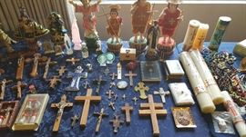 huge collection of religious items, cross, crucifix, candle, figurines, rosary beads