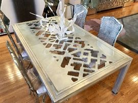 Phyllis Morris Painted Silver Leaf Lattice Pattern & Glass Dining Table, Signed MCM/Mod Lucite Centerpiece