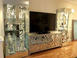 "Sharp Aquos 60"" TV... Glass & Chrome Curio Cabinets, Silver Leaf Lattice, Glam Contemporary Mirrored Sideboard Console"
