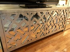 "Phyllis Morris signed Mirrored & Lattice ""Glam"" Silver Leaf Contemporary Console Sideboard/Server"