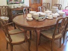 French Provincial dining table & 10 chairs