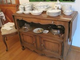 French Provincial drop leaf server & china