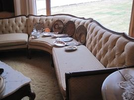 large 3 sectional sofa & silver plate