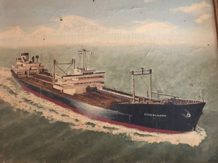 Rare Esso Oil Tanker Painting on Canvas- Esso Bangor Built 1952 Destroyed 1983