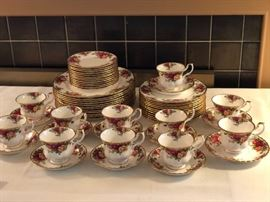 """Royal Albert  """"Old Country Roses""""                                               5 piece place setting  - service for 12"""