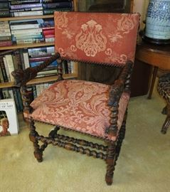 Antique Jacobean-Style Barley-Twist Armchair with Carved Lion Arm