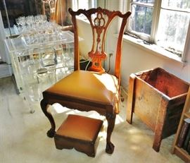 Vintage Chippendale-Style Side Chair