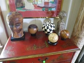 19th. C. Red Lacquered Chinoiserie Chest with Antique Bone and Stone Globes; 19th. C. Wood Millinery Head