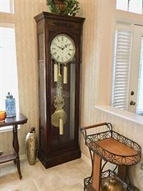 Howard Miller large grandfather clock, cart