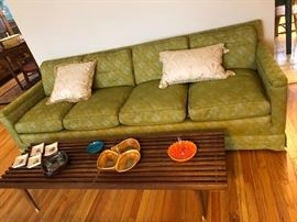 Mid-Century great condition green & gold sofa , amazing condition (2) gold chairs
