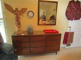 Mid Century Modern triple dresser.   Large carved wood angel.