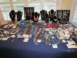 Large collection of costume jewelry.