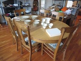 Antique Round Oak Table and 3 Chairs