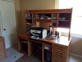 Wooden desk and shelving unit