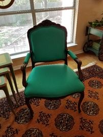 Set of 2 upholstered chairs. Recently recovered.